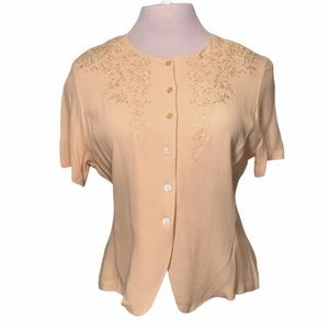 Vintage Embroidery Accent Blush Short Sleeve Top